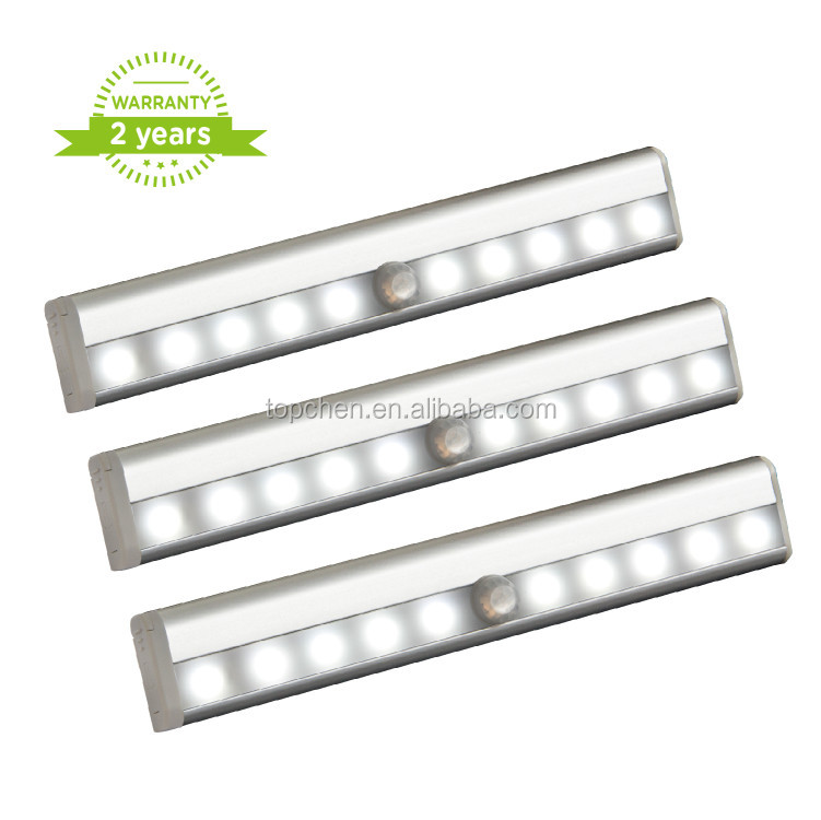 3 Pack 10 LED Motion Sensing Closet Lights Wireless Night Light for Cabinet/Wardrobe/Stairs/Step Light with Magnetic Strip
