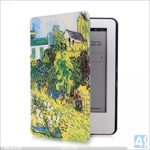 colorful ultra thin customized pattern desgin for kindle touch PU leather case
