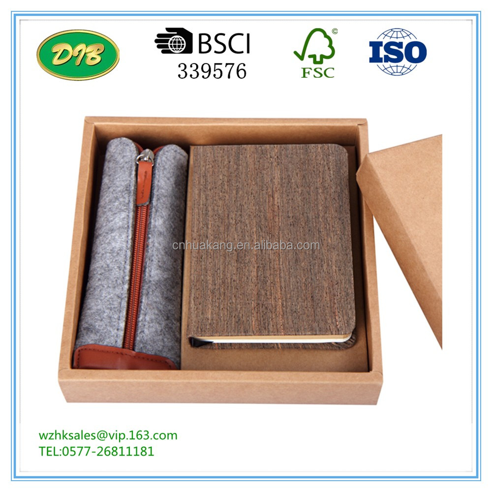 Customized Soft Wood Cover Notebook Manufacturer Cork Notebook With box