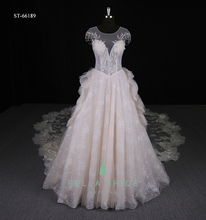 Fancy cap sleeve lace bridal wedding gown wedding dress with detachable train