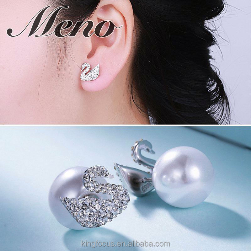 Meno S925 silver stud lady fashion swan earrings jewelry gift