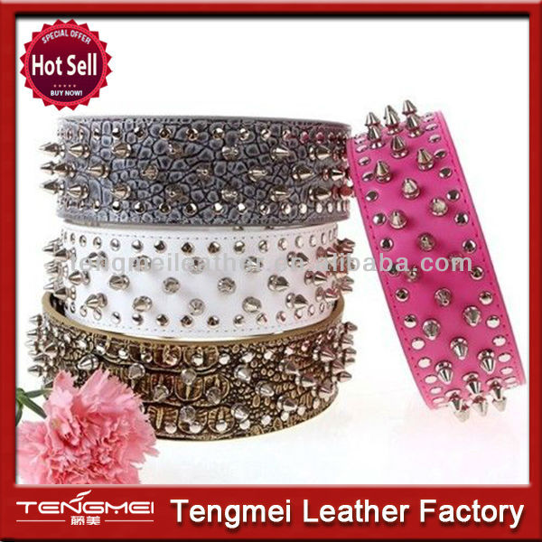 Leather dog collar choke chains dog collar metal spikes