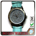 2013 luxury elegant ladies geneva japan movt quartz watch diamond stainless steel genuine leather blue diamond glass watch