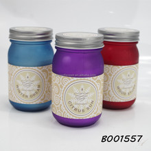 Matt spray on glass jar candle 100% fully refined paraffin candle with metal lid