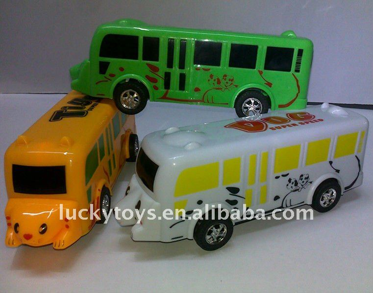 18cm cartoon bear/tiger pull lline bus
