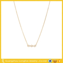 2017 latest design 925 silver fine jewelry 3 diamond bar necklace
