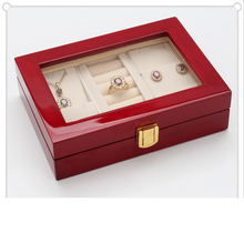 Chinese factories wholesale custom luxurious wooden jewelry box, fashionable transparent window display box, red gift box