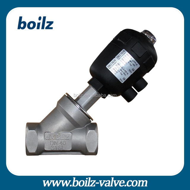 Stainless steel air operated water flow angle seat valve