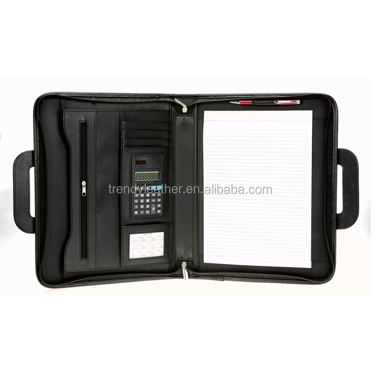 Custom zipper Leather business portfolio Case With Handle for Tablet