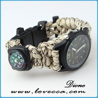 Custom made wholesale 550 watch paracord survival bracelet with compass