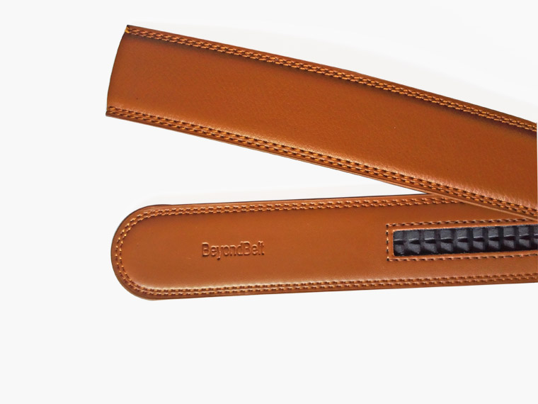 3.5cm Tan Color Cowhide Ratchet Belt for Men