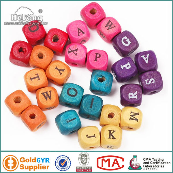wood alphabet beads / wood letter cubes