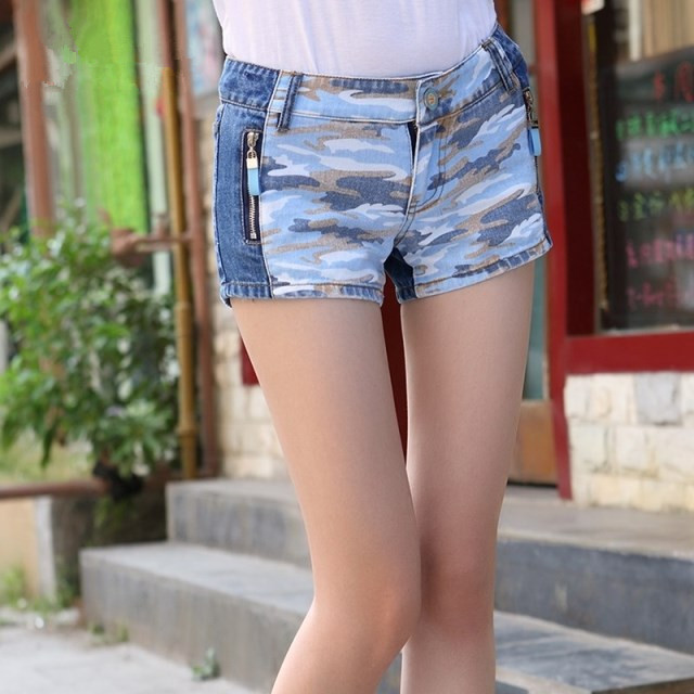 C80907A Camouflage print women's jeans shorts