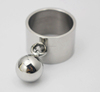Sphere Round pendant charm ring Personality Unique Punk party Disco finger hand ring Jewelry Women Silver steel Metal ball ring
