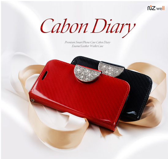 NIZWELL Carbon Diary Wallet Phone Case for Samsung Galaxy S4 E300/E330 Enamel Carbon Pattern Handmade Fashion Item Cubic Holder