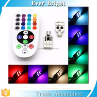 New Products T10 RGB LED Car Interior Dome Reading Light Lamp Bulb With Remote Control rgbw T10