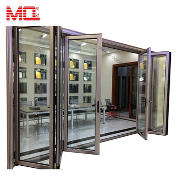 Double Glazing Australian standard Aluminium Bi Folding Glass Entry Door