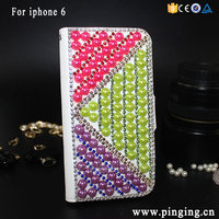 Beautiful Pearl Candy Color Custom Bling Bling Leather Flip Case For Iphone 6 4.7 Inch And 6 Plus 5.5 Inch