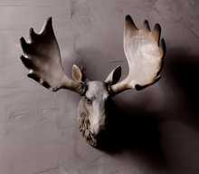 Home decoration resin elk head statue animal crafts resin wall art sculpture for sale