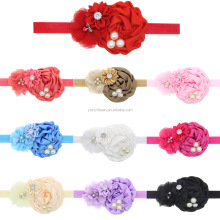 Elastic Headbands with pearl flower baby girl hair accessories infant rose flower hairbands headwear wh-1532