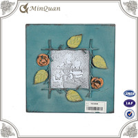 fancy glass god square blue photo frame with flower