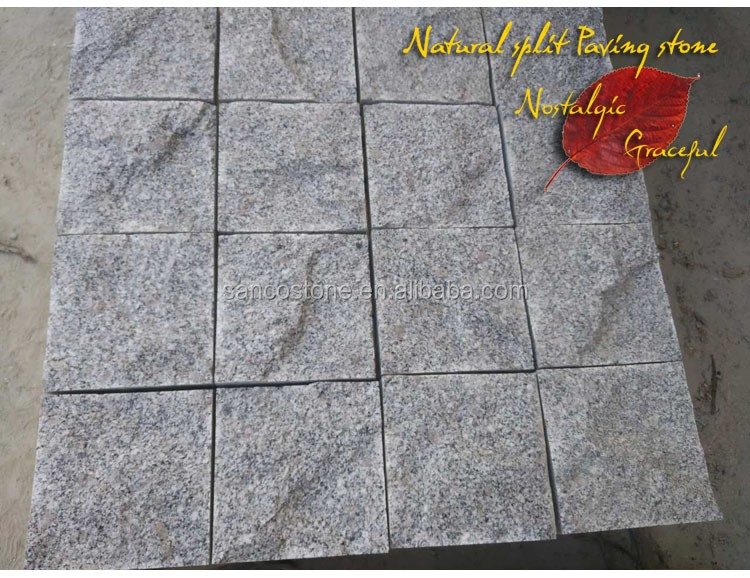 Grey Granite cobbles paving stone top flamed or split other sides Machine Cut G341Granite cubestone for driveway pavers