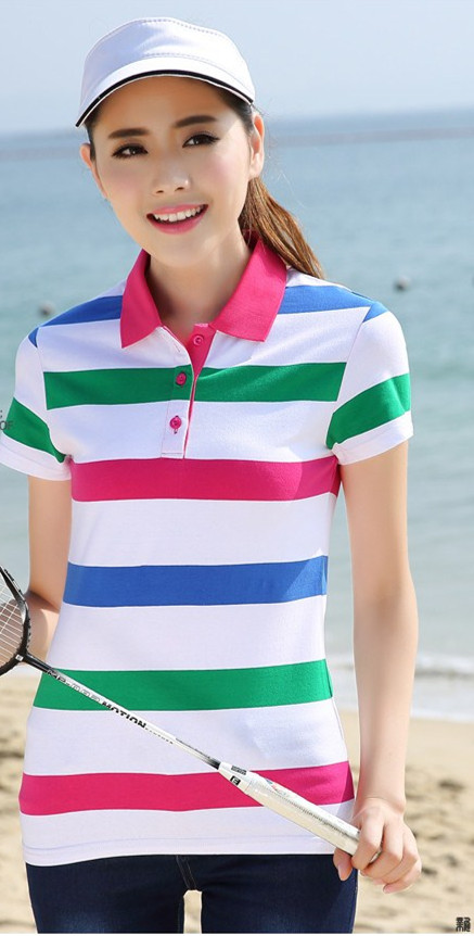100% Cotton strip Polo T-shirt,short sleeves women tennis clothes of China supplier