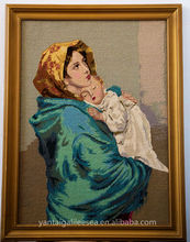 Yantai Chefoo Mary and baby Jesus handmade savior tapestry woolen needlepoint tableau rug pictorial carpet or wall hanging rugs