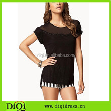 Most popular knitte lady t shirt, woman black beaded shirts wholesale, blank women t shirt buying in bulk