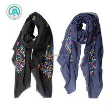 2017 arabic style solid color fashion floral embroidery hijab scarf