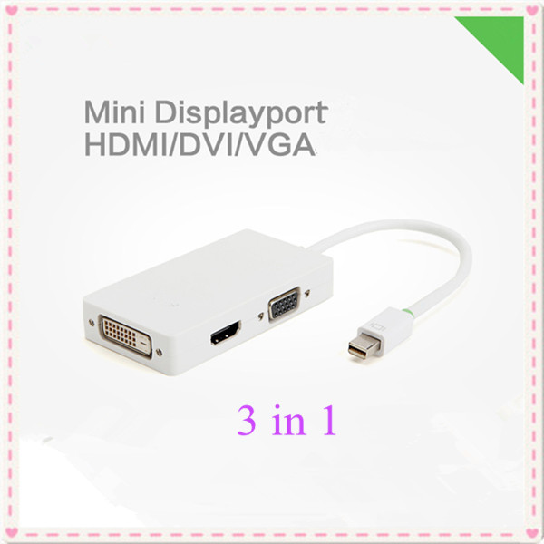 3 in 1 Thunderbolt Mini Displayport to HDMI DVI VGA Adapter Cable