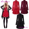Red Wine Red Black Lotus Leaf Fat Size Party Vintage Women Casual One Piece Dress