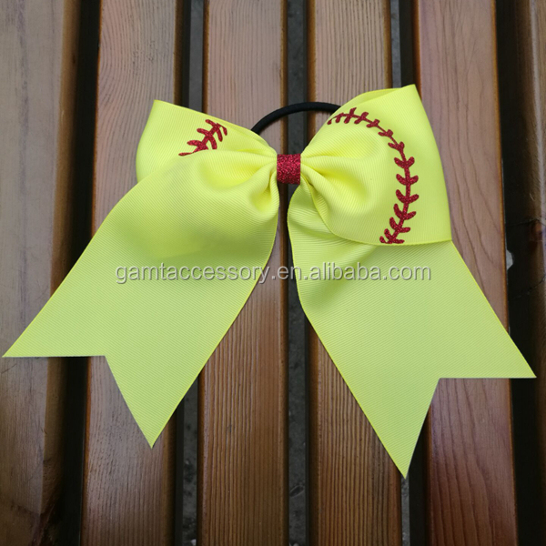 Custom Large Neon Yellow Softball Cheer Hair Bows with Red Glitter holder