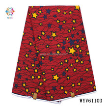 WYV61103 (12) new design cotton star pattern red hollandis wax dutch fabric for ladies party dress