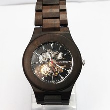 Custom your own brand logo wood watch wooden skeleton mechanical watches