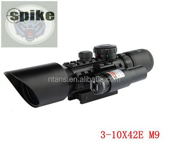 SPIKE 3-10X42E(M9) red /green illumination optics rifle scope with red laser/ riflescopes hunting