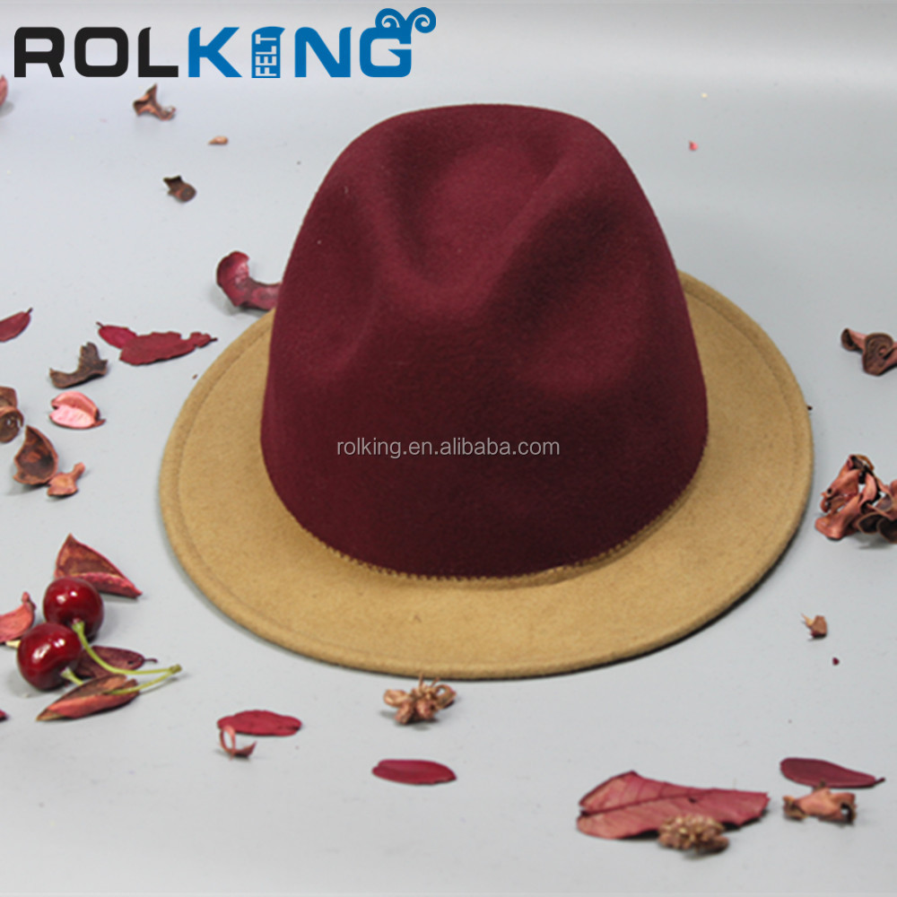 100% Wool Felt Hat joint color fedora hat fedoras