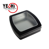 2016 new style Black painting Rectangle tin box with a clear PET window
