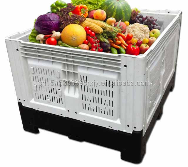 Plastic fruit crate large foldable crates for fruits and vegetable