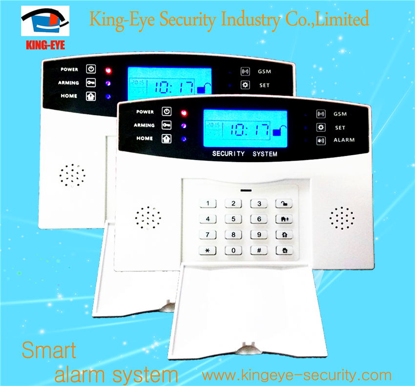 LCD display keypad wireless alarm system & battery powered motion detector alarm