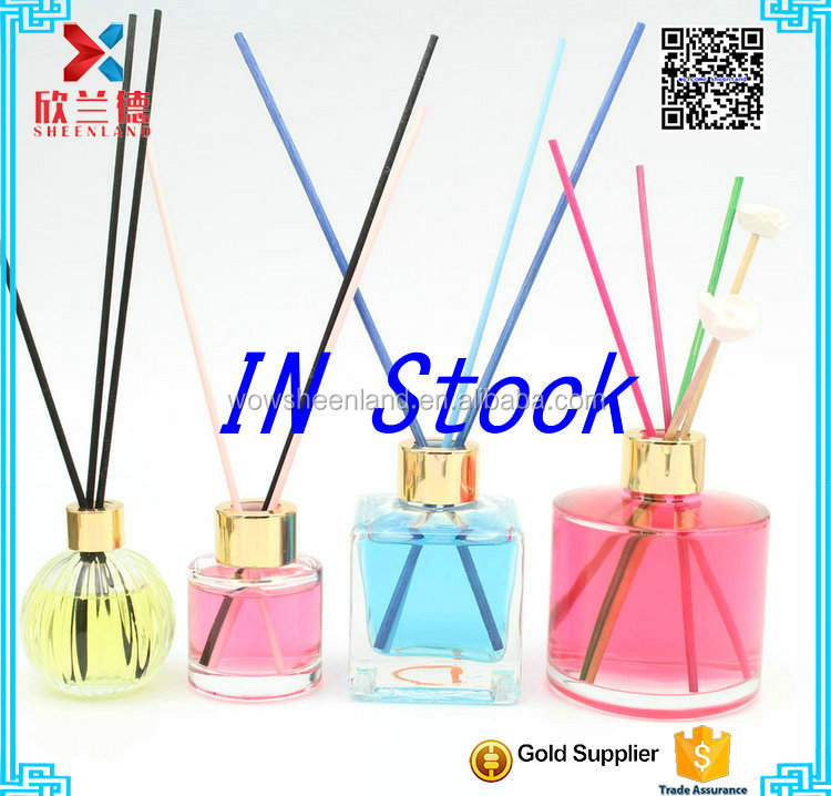 2016 in stock new design 50ml,120ml,200ml reed diffuser glass bottle with rattan sticks