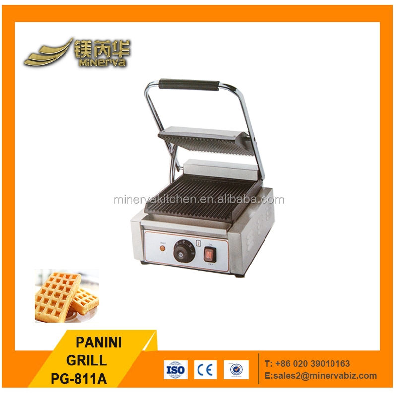 Electric industrial Non Stick Cast Iron Sandwich Press Panini Grill/Full ribble Contact Grill PG-811A