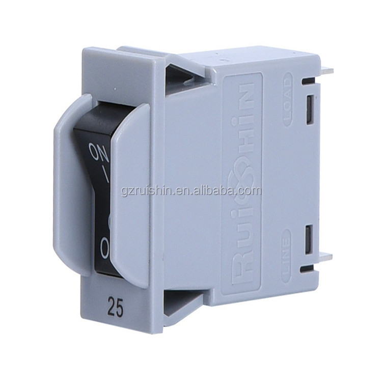 China AC 25A snap in 2 poles rocker style hydraulic magnetic circuit breaker for RACK MOUNT PDU