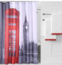 London Telephone Booth Patterned Waterproof Fabric Printed Patterns Style 3D Shower Curtains