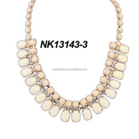 2015 Latest design beads gold chain necklace, top selling neon color necklace