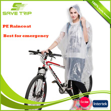 Logo printed adult waterproof cover PE rain poncho cover best for emergency