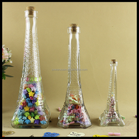 50ml 350ml 600ml colorful Eiffel tower shaped glass wine bottle / juice bottle with cork