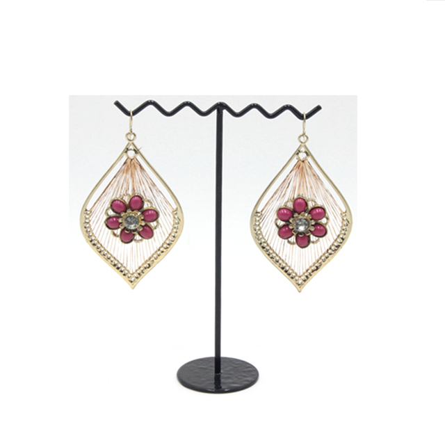 Fashion Lady Africa Style Gold Planted Ruby Color Crystal Flowers Statement Earring Ladies Earrings Designs Pictures
