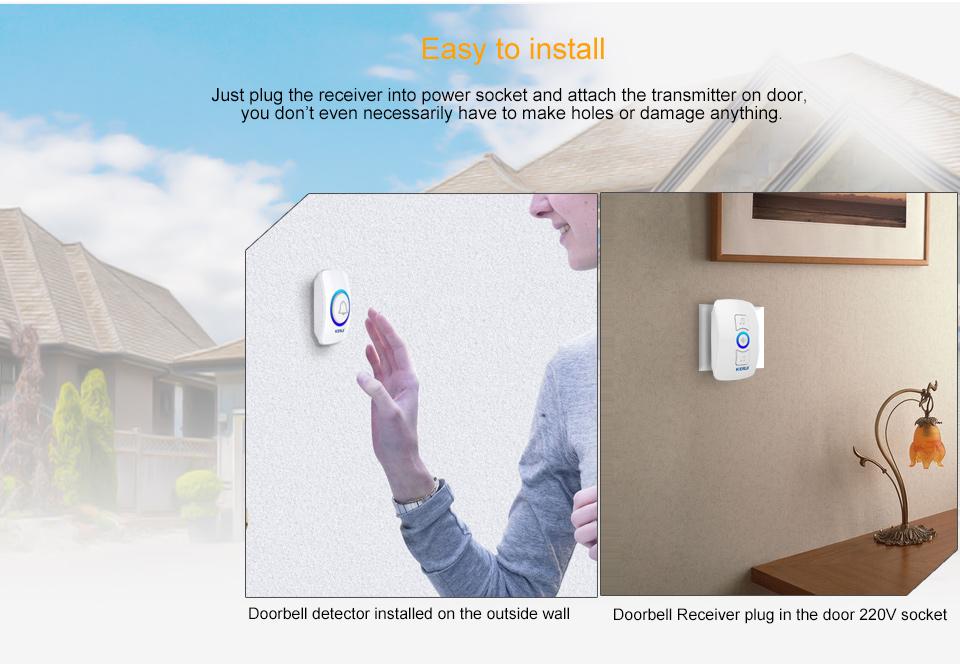 KERUI 2017 New Waterproof Multifunctional Wireless Doorbell with 32 Songs Support Multiple Doorbell Transmitter Welcome Chime_02