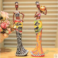 OEM colorfull african black woman figurine / statues